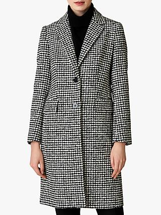 Jaeger Houndstooth A Line Jacket, Black