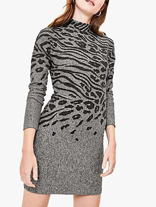Oasis Cosy Animal Bodycon Dress, Grey