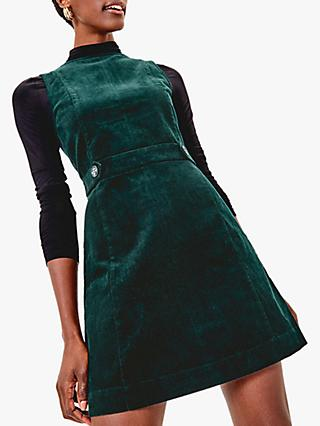 Oasis Cord Shift Dress, Deep Green