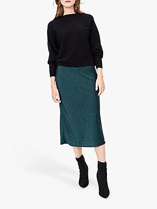 Oasis Mixed Animal Print Midi Skirt, Deep Green