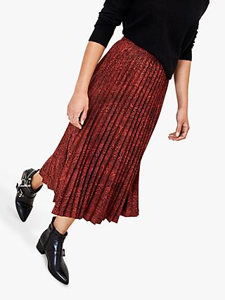 Oasis Snake Print Pleated Midi Skirt, Multi