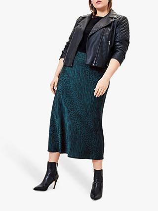 Oasis Curve Animal Print Midi Skirt, Black/Green