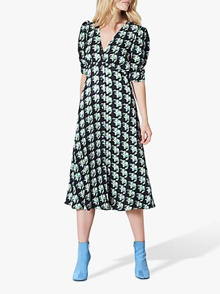 Finery Claredon Houndstooth Check Tie Neck Dress, Green/Multi