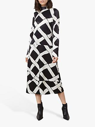 Finery Arden Ribbon Print Dress, Black/Multi