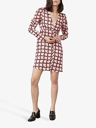 Finery Catalina Deco Geo Print Dress, Pink