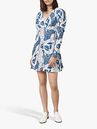Finery Catalina Deco Print Dress, Blue/White
