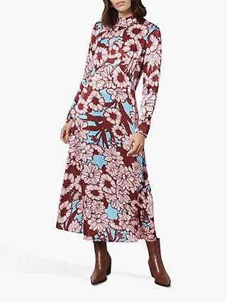 Finery Ruby Floral Bloom Print Midi Dress, Pink/Multi