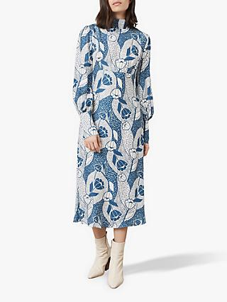 Finery Isla Dotted Floral Print Dress, Blue/Ivory