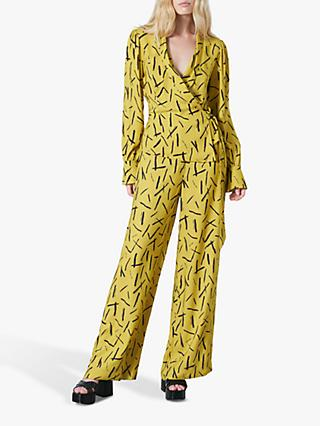 Finery Imogen Matchstick Print Wrap Blouse, Lime Yellow