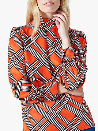 Finery Cecilia Geo Print Blouse, Red/Multi