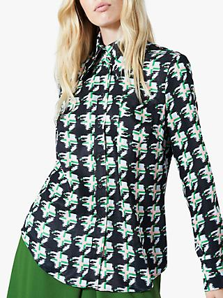 Finery Ludlow Houndstooth Check Print Shirt, Green/Multi