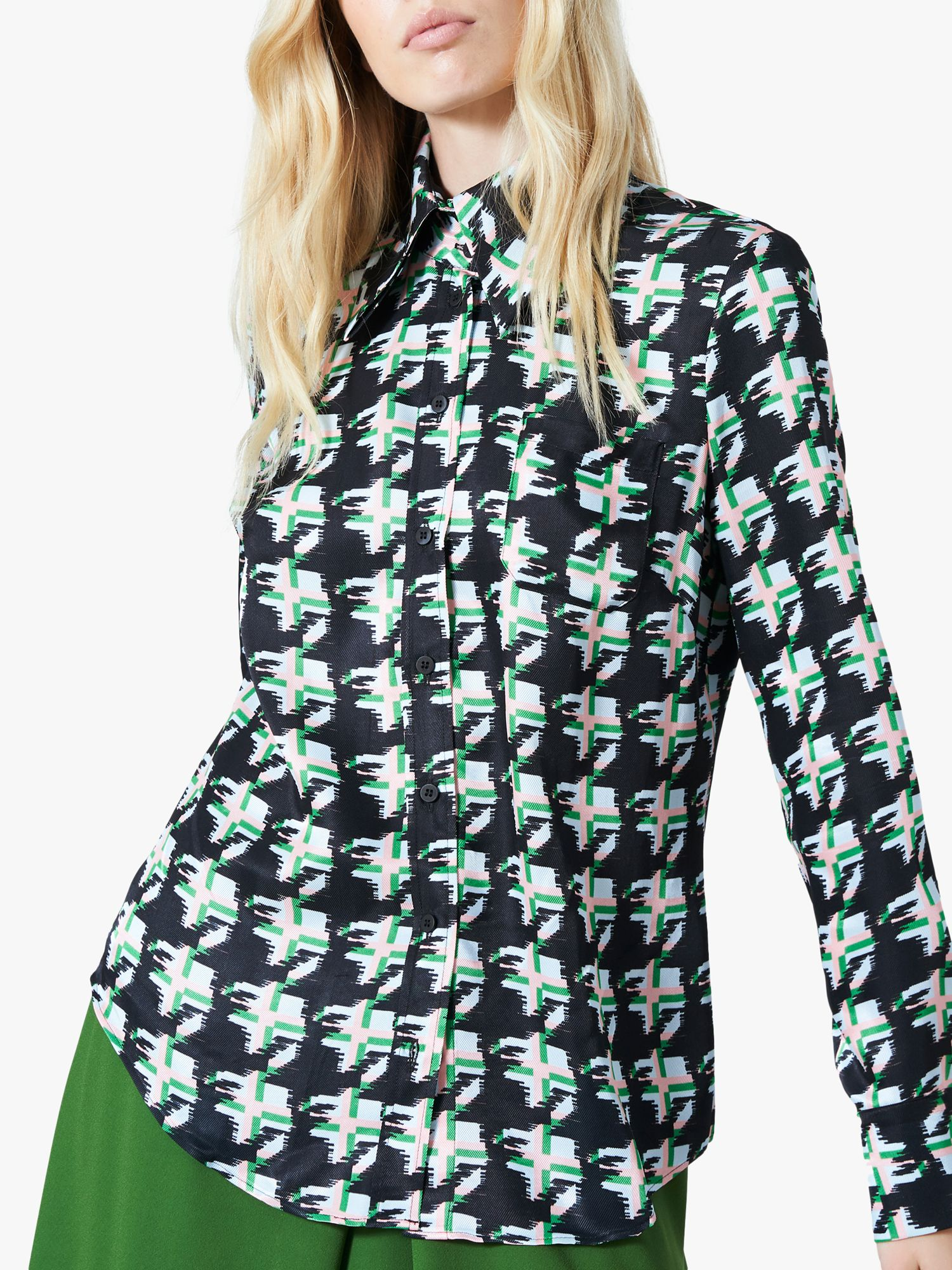 Finery Finery Ludlow Houndstooth Check Print Shirt, Green/Multi