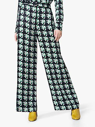 Finery Ashbridge Matchstick Print Wide Leg Trousers, Green/Multi