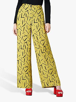 Finery Ashbridge Abstract Wide Leg Trousers, Yellow