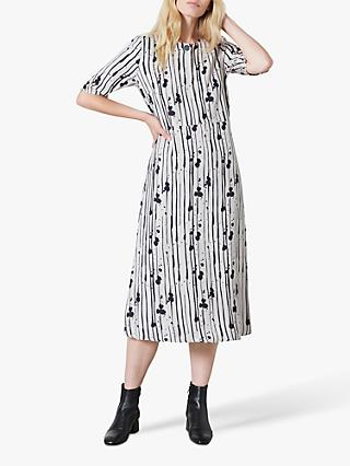Finery Libby Ink Stripe Dress, Grey/Black