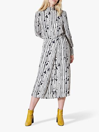 Finery Akenside Stripe Tie Waist Midi Skirt, Grey/Black