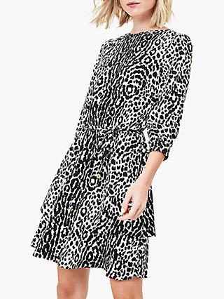 Oasis Animal Print Tiered Hem Dress, Black/White