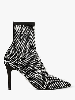 Dune Billionaire Studded Stiletto Heel Ankle Boots, Black