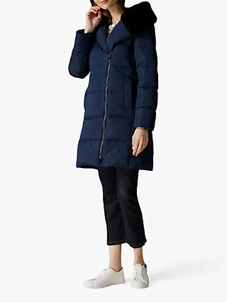 Jaeger Faux Fur Hood Coat, Navy