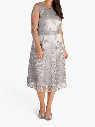 Chesca Embroidered Lace Dress, Silver/Grey