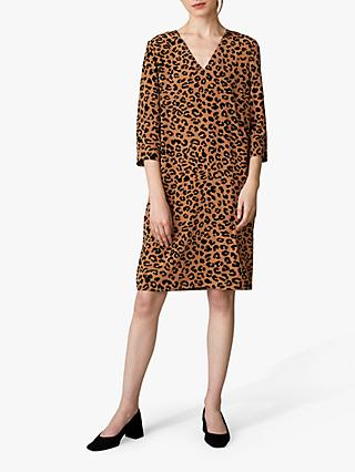 Jaeger Leopard Print Silk Shift Dress, Tan