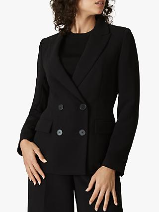 Jaeger Crepe Button Blazer Jacket, Black