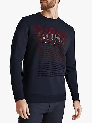 BOSS WorkUp Flock Print Relaxed Fit Sweatshirt, Dark Blue