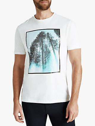 BOSS TipOff Jersey Forest Photo Print Crew Neck T-Shirt, White