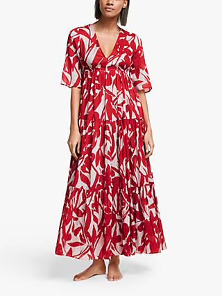 John Lewis & Partners Martinique Tiered Maxi Kaftan Dress, Flame