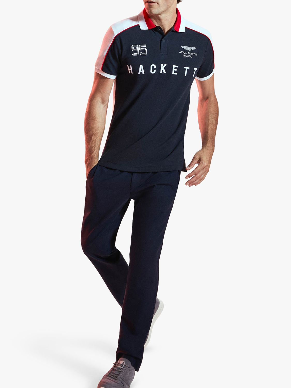 Hackett London Hackett London Aston Martin Racing Short Sleeve Polo Shirt, Navy/Multi