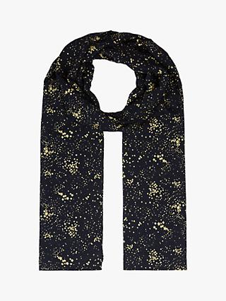Hobbs Laura Star Print Scarf, Navy/Gold