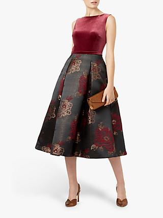 Hobbs Belle Dress, Plum/Black