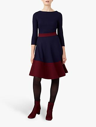 Hobbs Seasalter Stripe Dress, Navy/Burgundy