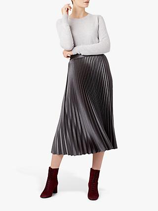 Hobbs Sophie Metallic Pleated Midi Skirt, Platinum