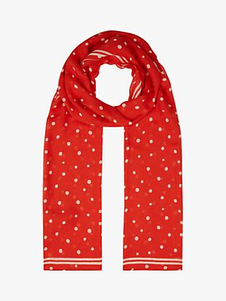Hobbs Amy Polka Dot Scarf, Red/Ivory