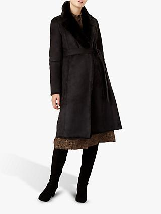 Hobbs Viola Faux Fur Trim Coat, Black