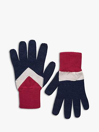 Brora Cashmere Chevron Gloves, French Navy/Chilli
