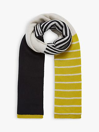 Brora Cashmere Colour Block Knit Scarf, Black/Swan