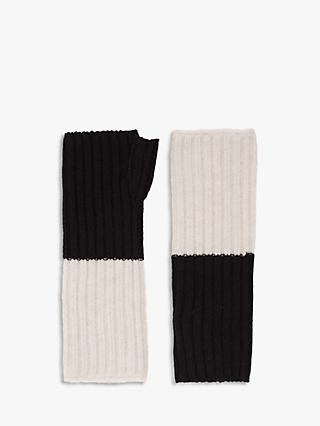 Brora Cashmere Ribbed Colour Block Wristwarmers, Swan/Black