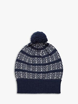 Brora Cashmere Herringbone Bobble Hat, French Swan/Navy