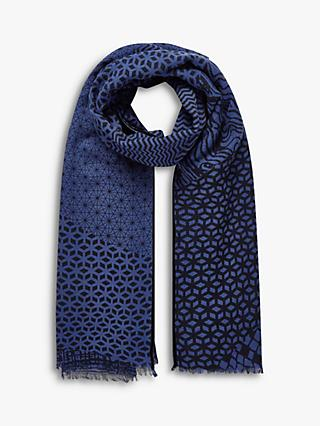 Brora Wool Graphic Print Stole Scarf, China Blue/Black