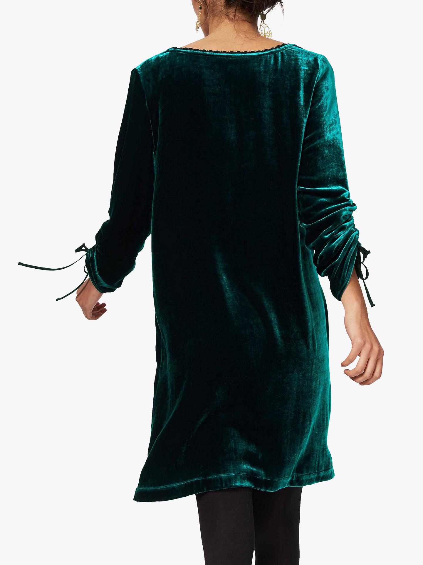 Brora Velvet Tunic Dress, Teal at John Lewis & Partners