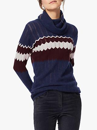 Brora Cashmere Wave Knit Cowl Neck Jumper, Navy/Oxblood