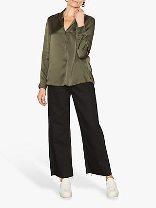 Jigsaw Silk V-Neck Drape Blouse, Fern