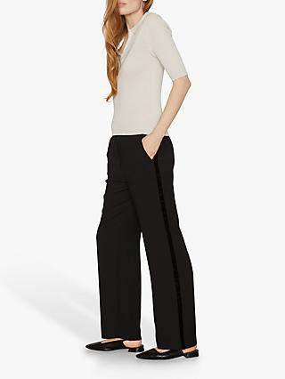 Jigsaw Relaxed Velvet Trim Trousers, Black