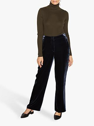 Jigsaw Silk Velvet Relaxed Trousers, Navy