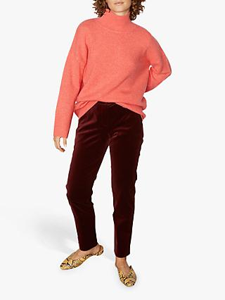 Jigsaw Slouchy Cashmere Turtle Neck Jumper, Coral