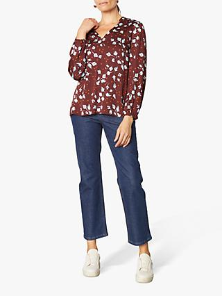 Jigsaw Washed Tulip Print Blouse, Plum Rose