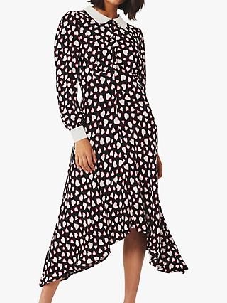 Ghost Harison Tatty Heart Print Dress, Black/Multi