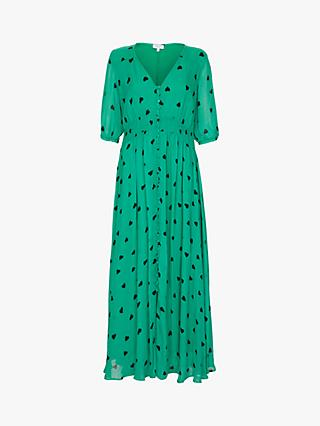 Ghost Valentina Heart Print Dress, Green